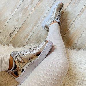 NWT Nike Air Force 1 liquid metal